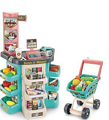Kids Super Supermarket With Shopping Cart Toy Food Sounds And LED Lights Till Uk • 32.99£