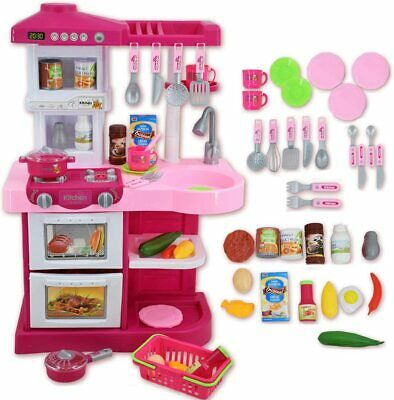 Kids  Pretend Play Kitchen Set Utensils Sounds Working Faucet Kitchen Play Set  • 29.99£