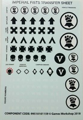 Warhammer 40K X1 Primaris Space Marine Imperial Fists Transfer Sheets • 6.99£