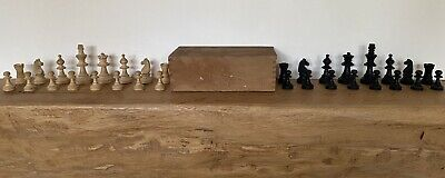 Vintage Full Set Of 32 Wooden CHESS Pieces King 6.5cm • 14.95£