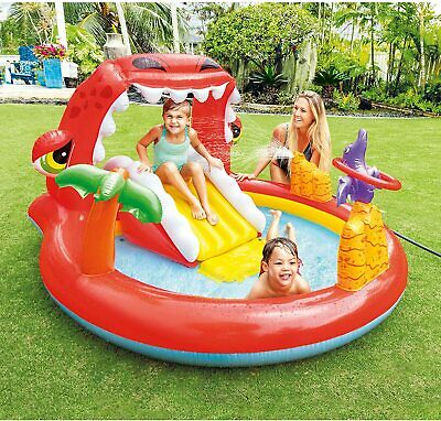 Swimming Pool Happy Dino Inflatable Play Center Paddling Water Dinosaur Garden • 42.49£