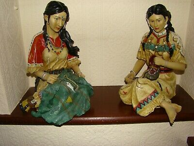 Red Indian Squaws - 2 Scale Figures 12 Inches High In Excellent Condition. • 29.99£