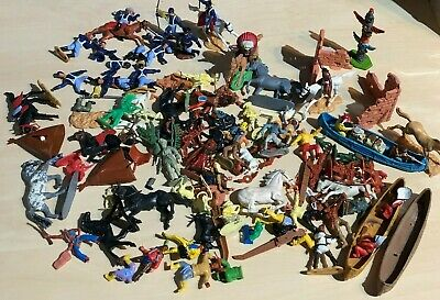 Vintage Plastic Soldiers Timpo+Britains Swoppets+Similar Cavalry Apache Spares • 31£