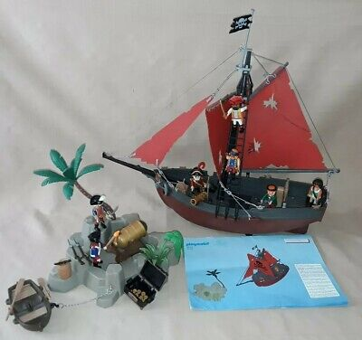 Playmobil Pirate  Ship 3619 And Treasure Island 3133 Bundle • 25£