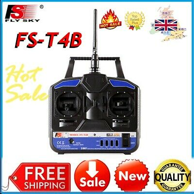 FS-T4B 2.4G 4CH Radio Control RC Transmitter & Receiver For RC Drone Airplane UK • 19.95£