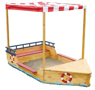 Wooden Sand Pit - Sand Boat Sandpit - Sandpit Boat With Storage, Cover & Roof • 99.99£