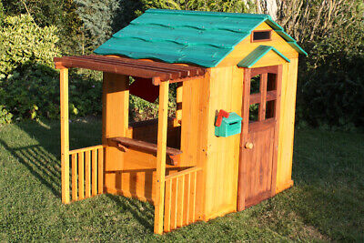 Kids Wooden Playhouse - Wavy Roof Children's Cottage Playhouse • 199.99£