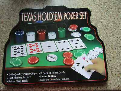 Texas Hold'em Poker Set With 2 Packs Of Playing Cards, Felt Surface & 200 Chips • 7.95£