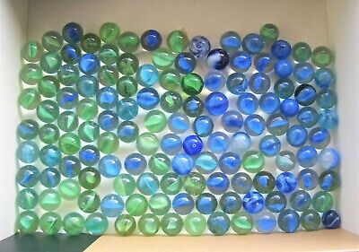 Job Lot Collectable Blue And Green Glass Marbles - Various Sizes / Condition  • 10£