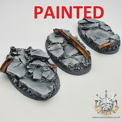 PAINTED 90x52mm Urban Rubble Bases, 40k Horus Heresy  Space Marines Bike Chaos.  • 18£