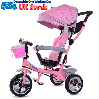 4-in-1 Baby Kids Trike Tricycle Girls 3 Wheels Buggy Toddlers Ride On Car Pink • 46£