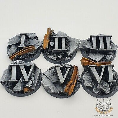 6 Pack 40mm Resin Urban Rubble Objective Markers, 40k Horus Heresy 9th Edition  • 10£