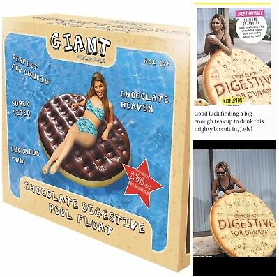 Giant Inflatable Chocolate Digestive Biscuit Pool Float, Celebrity, Fun, Beach • 28£