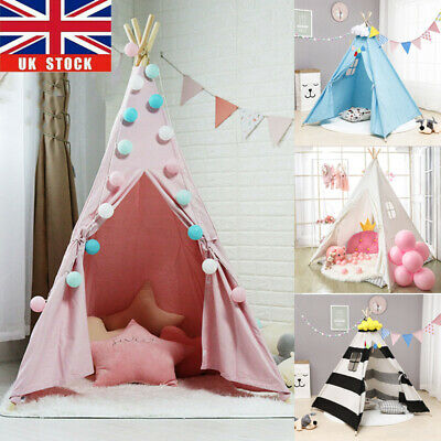 Large Canvas Kids Teepee White Tent Childs Wigwam Indoor Outdoor Play House Gift • 24.94£