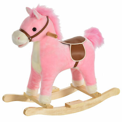 HOMCOM Kids Plush Rocking Horse W/ Moving Mouth Tail Sounds 18-36 Months Pink • 31.99£