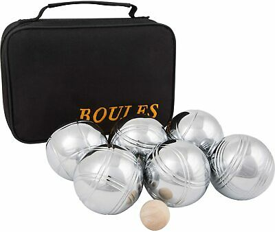 Set Of 6 Metal Boules With Carry Case Metal Bowls Garden Games New • 24.99£