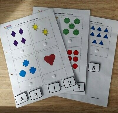 Handmade Matching Numbers And Quantities To 10. Maths, Numbers. Nursery, School, • 5.50£