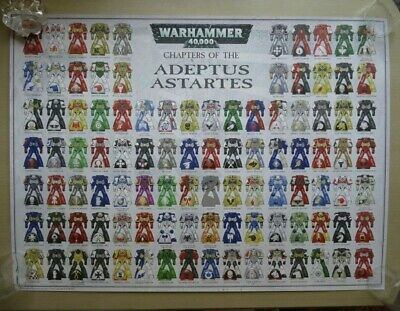 Games Workshop Wh40k ~rare  Chapters Of The Adeptus Astartes  Poster Mint • 30£