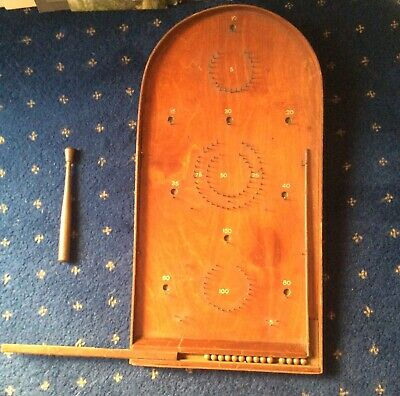 Large Vintage Wooden Bagatelle Approx 2 Ft High With Original Balls And Cue • 12£