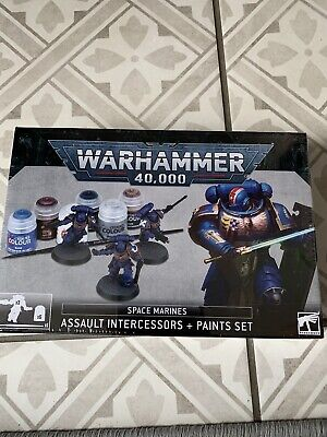 40K SPACE MARINES ASSAULT INTERCESSORS AND PAINTS SET - Brand New • 11.99£