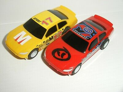 12V MICRO Scalextric - Pair Of Stock Cars - Red #6 / Yellow #17 - Mint Cdn. • 12.50£