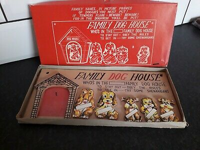 Vintage Wooden Family Dog House Game 60s70s • 10£