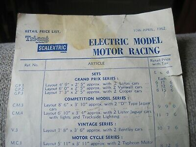 Scalextric. Vintage Price List Dated 1962. • 3.60£