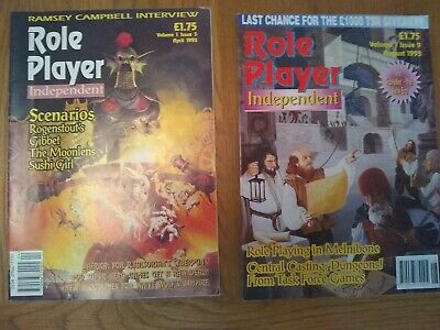 2 X Vintage ROLE PLAYER INDEPENDENT Magazine - Vol 1 Iss 5 & Vol 1 Iss 9. 1993 • 7.50£