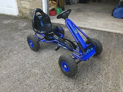 Childrens Kids Blue Pedal Go Kart Cart With Inflatable Wheels And Hand Brake • 10£