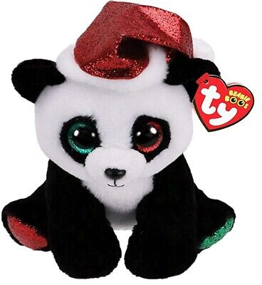 Official Ty Beanie - Ty Beanie Boo -pandy Claus  Reg 15cm Soft Toy 36694 • 7.99£