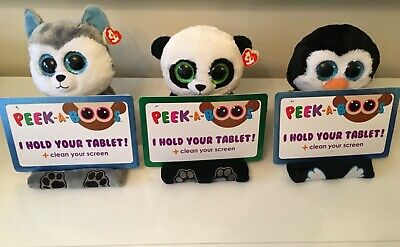 Ty Peek A Boos Tablet Holder Buddy Plush With Screen Wipe - Last One • 19.99£