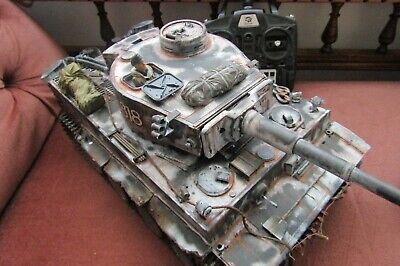 Tiger 1 Tank Heng Long  Refinshed Painted, Weathered Modified 1/16th R Control • 269£