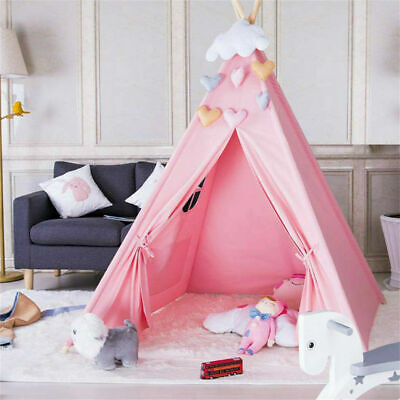 Cotton Canvas Kids Teepee Tent Childrens Wigwam Indoor Outdoor Play House GIfts • 18.95£