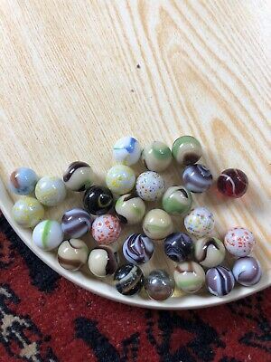 30 Vintage Opaque Glass Marbles Wide Range Of Colours • 9£