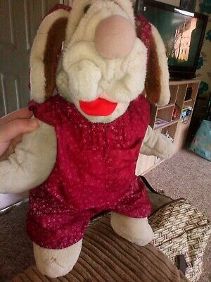 Wrinkles Vintage Dog Puppet In Perfect Condition Girl Dog With Floral Dress • 30£