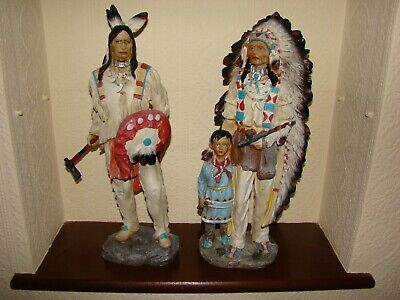 Red Indian Braves - 2 Scale Figures 18 Inches High In Excellent Condition • 12.95£