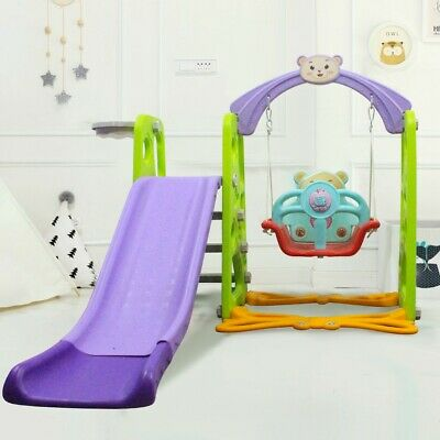 Toddler Slide Swing Set Climb Basketball Hoop Kids Toy Indoor/Outdoor Playground • 99.98£