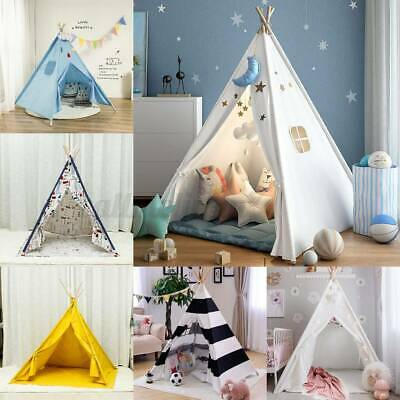 UK Large Canvas Children Indian Tent Teepee Wigwam Kids Play House With Carpet • 20.99£