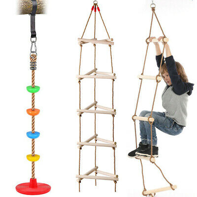 Kids Climbing Frame Ladder Outdoor Rope Swing Disc Seat Wooden Rungs Kids Toys • 46.62£