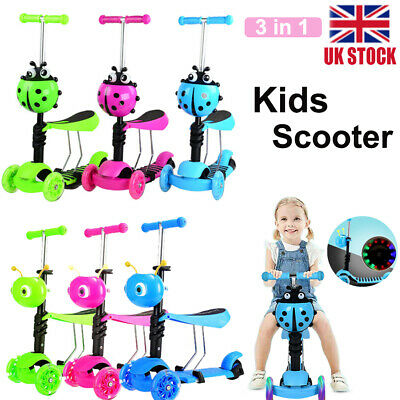 3in1 Kids Child Scooter 3 Wheel Toddler Beginner Kick Scooters Adjustable Seat • 18.99£