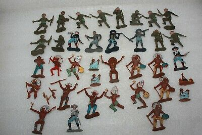 Job Lot Crescent Toys Plastic Soldiers, Us Cavalry & North American Indians • 4.99£