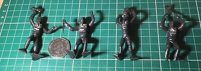 Vintage Plastic Frogmen X 4 Approx 70mm In Size - Please See Description. • 4£