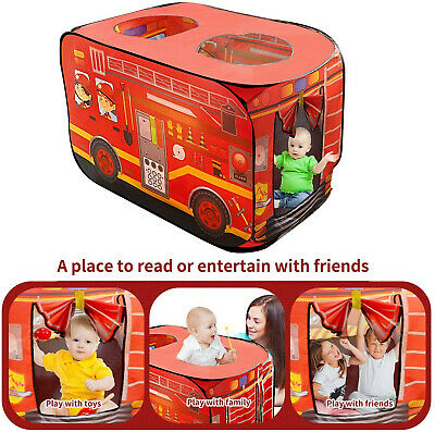 Play Tent For Kids, Pop-Up Fire Truck Playhouse Indoor Pretend Car Tent For Fire • 16.99£