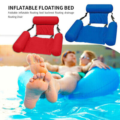 Foldable Inflatable Floating Water Float Pool Lounge Bed Swimming-Chair Beach • 15.43£