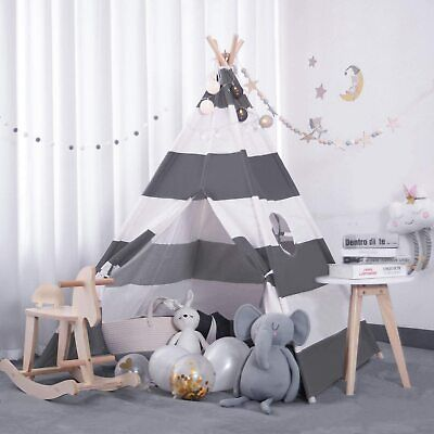Kids Teepee Tent With Mat, Banner,Carry Bag, Beige Cotton Play Tent For Child UK • 28.49£