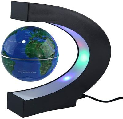 C Shape Magnetic Levitation Floating LED World Map Globe Light Office Home Decor • 21.10£