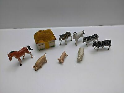 Vintage Cherilea Farm Animals X 8 & FGT & Sons Cottage 7 Cm High - Pre-owned • 16.99£