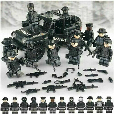SWAT CAR + 12PC POLICE Military Mini Figures Soldier Army Fit Lego Toys Weapon' • 14.64£