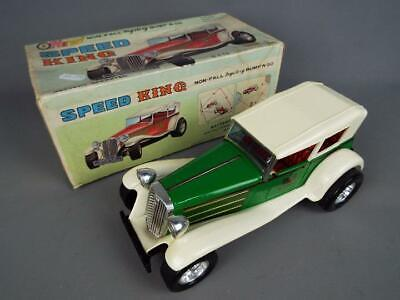 TAIYO SPEED KING Battery Operated Vintage Tinplate Bump & Go Car RARE GREEN • 100£