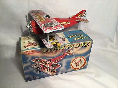Tinplate Battery Operated Stunt Plane Japan Boxed • 40£